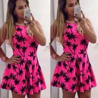 Palm Tree Printed Mini Skater Dress
