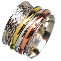 Spinner Ring - Three Tone Three Smooth Bands