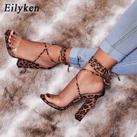 Eilyken Fashion Ankle Strap Women Sandals High Heels 12CM Summer Party Lace-Up Shoes Leopard Sandals mujer Size 35-40