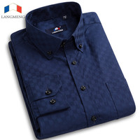 Langmeng 2016 Men Dress Shirt Solid Color Social Men Slim Fit Mens Long Sleeve Brand Casual Shirt Chemise Homme Camisa Masculina