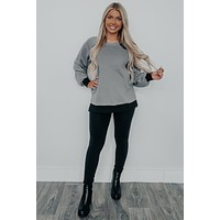 Watch Your Back Sweater: Charcoal/Black