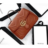 Gucci Classic Trending Women Stylish Leather Multicolor Satchel Crossbody Shoulder Bag Brown I/A
