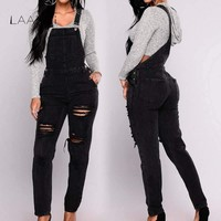 Laamei Women Jumpsuit Denim Overalls 2018 Spring Autumn Black Strap Ripped Holes Pockets Full Length Denim Jeans Jumpsuits
