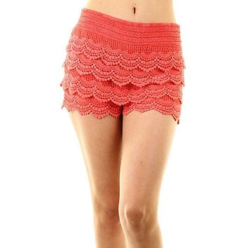 Scallop Crochet Textured Lace Shorts (Coral)
