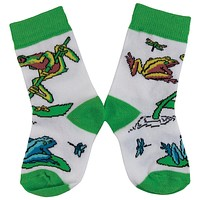Frogs On Lily Pad & Branch Juvy Socks