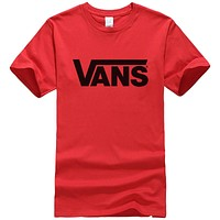 Vans New fashion letter print couple top t-shirt Red