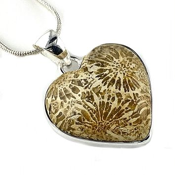 Fossilized Coral Sterling Silver Heart Pendant