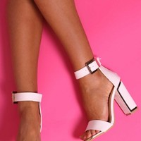 Portinax White and Gold Block Heels | Pink Boutique