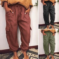 Womens Elastic Waist Solid Color Cargo Cropped Pants Lace Up Overalls Casual Loose Trousers Vintage Pockets Plus Size 5XL