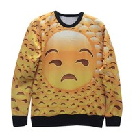 Unisex Sweatshirts Emoji tile print big head expression funny 3D Sweater (S)