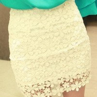 http://abby.storenvy.com — White High Waisted Lace Mini Skirt