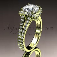 """14kt yellow gold diamond unique engagement ring, wedding ring with a """"Forever Brilliant"""" Moissanite center stone ADER107"""