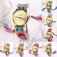 NEW Women Geneva National Braid Bracelet Analog Lady Chain Wrist Watch Special = 1956954628