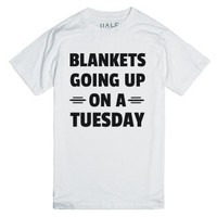 Blankets Going Up-Unisex White T-Shirt