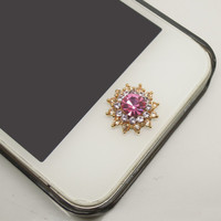 Etsy Black Friday/Cyber Monday Sale 1PC Bling Pink Crystal Flower Jewel iPhone Home Button Sticker for iPhone 4s,4g,5,5c Cell Phone Charm