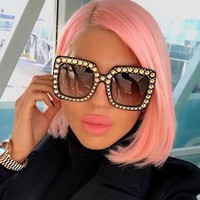 Becca Women Oversized Square Crystal Sunglasses