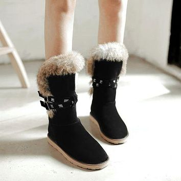 Round Toe Rivets Women's Snow Boots