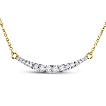 10k Yellow Gold Round Diamond Curved Bar Pendant Necklace 1/2 Cttw