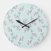 cherry blossom duck egg large clock | Zazzle.co.uk