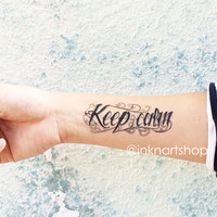 2pcs KEEP CALM typography lettering script - InknArt Temporary Tattoo - set wrist quote tattoo body sticker fake tattoo wedding tattoo small