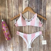 Elizabeth Pink Striped Bikini