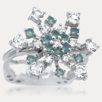 925 Silver Ring with Green Chalcedony, White Topaz