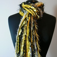 Pittsburgh Steelers - NFL scarves College Scarf - Shades of Black, White and Yellow Gold - $29.95 - Handmade Crafts by Flora's Finest Scarves