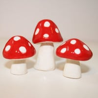 Little Clay Mushrooms | MADE TO ORDER | 3 Miniature Mushrooms | Ceramic Mushrooms | Now in other colors | Set of 3 |