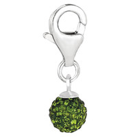 Sterling Silver Crystal August birthstone clip-on ball charm