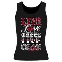 Printed Live Love Cheer Fitted Black Tank Top with Red Glitter