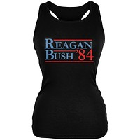 Election 1984 Reagan Bush Distressed Black Juniors Soft Tank Top