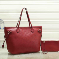 Women Fashion Leather Satchel Tote Handbag Crossbody Set Two-Piece