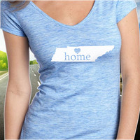 Tennessee Home T-Shirt - V-Neck - State Pride - Home Tee - Clothing - Womens - Ladies