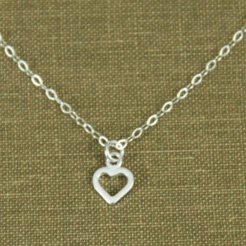 Sterling Silver Heart Necklace, Heart Necklace, Fine Chain Necklace, Small Heart Pendant, Silver Heart Pendant, Love Necklace