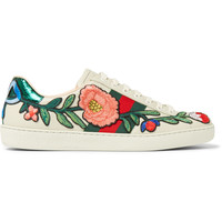 Gucci - Ace Appliquéd Snake-Trimmed Leather Sneakers