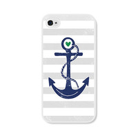 Striped Anchor Apple iPhone 5 Case - Plastic iPhone 5 Cover - Nautical iPhone 5 Skin - Cobalt Blue Navy Blue Grey White Cell Phone
