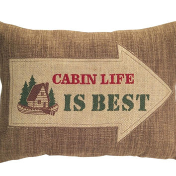Cabin Life Is Best - Country Lodge Collection Oblong Embroidered Burlap Pillow - 17-in