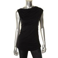 Nanette Lepore Womens Ruched Drapey Pullover Top