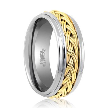 PHANTOM Tungsten Carbide Men's Engagement Ring with Gold Rope - 8MM