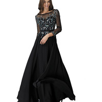 Black Modest Long Sleeve Chiffon A-Line Gown 2016 Prom Dresses