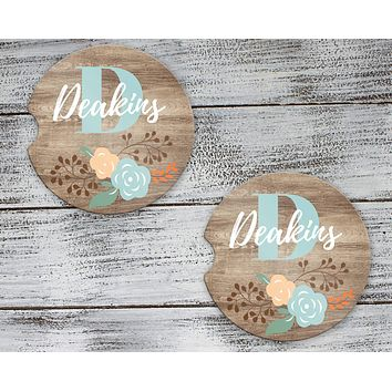 Personalized Car Coasters | Custom Car Accessories | Faux Wood Floral | Set of 2