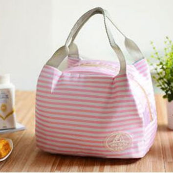 Pink Stripes Portable Insulated Thermal Picnic/Lunch Canvas Tote