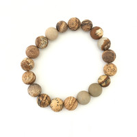 Round Rock Stretch Bracelet In Brown