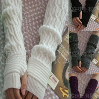 New Women's Autumn Fashion knitted Ankle long Arm Warmer wool fingerless glove Half Sleeves = 1920434756