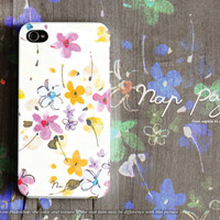 Apple iphone case for iphone iphone 5 iphone 5s iphone 5c iphone 4 iphone 4s iPhone 3Gs :Classic vintage flower on white
