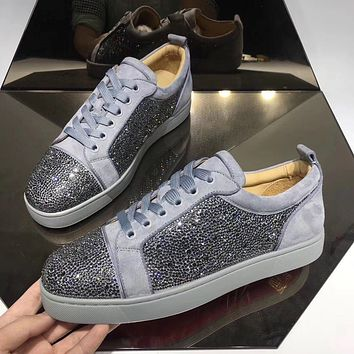 CL Christian Louboutin Men's Leather Fashion Low Top Sneakers Shoes