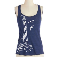 ModCloth Nautical Mid-length Tank top (2 thick straps) Guiding Lighthouse Tank