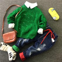 Children Baby Boys Autumn winter Clothes Sets Kids Knit sweater + shirt + jeans 3pieces Clothing Sets Child Sport Suits 2-6years