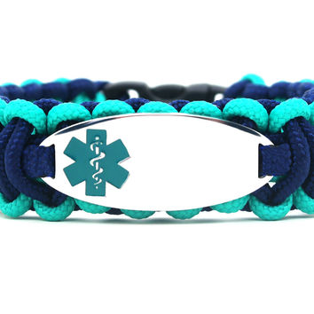 275 Paracord Bracelet with Engraved Oval Stainless Steel Medical Alert ID Tag - Teal