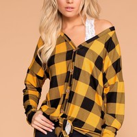 Mariel Mustard Plaid Tie-Front Top